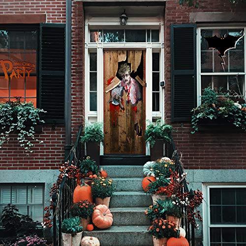 """Sirozi Halloween 3D Zombie Door Sticker,30.3""""x78.7"""" Lifelike Horrible Door Wallpaper Stitching Decals Zombies Invading Wall Cover Sticker for Halloween Decoration, Party Decors, Theme Game"""