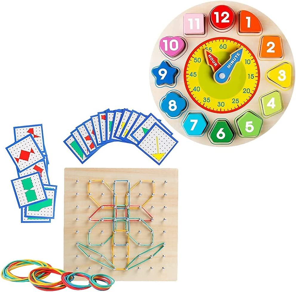 Year-end annual account Wooden Shape Color Sorting Clock New mail order Learning Educa Montessori Early