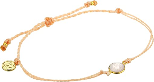 Bezel Set Rose Quartz Charm/Blush String