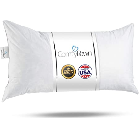14x22 Decorative Throw Pillow Insert, Down and Feathers Fill, 100% Cotton Cover 233 Thread Count, Rectangle Pillow Insert - Made in USA