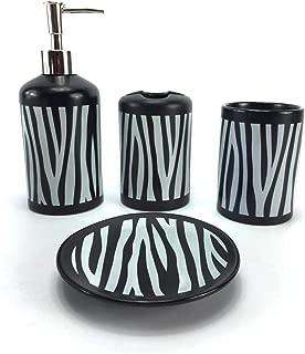 WPM 4 Piece Ceramic Bath Accessory Set Black White Zebra Animal Print Bathroom Soap or Lotion Dispenser w/Toothbrush Holder, Tumbler, Soap Dish