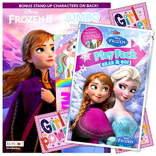 Disney Frozen Elsa Coloring Book Activity Set with Frozen Crayons and Stickers Bundle Includes Fun Separately Licensed GWW Bookmark and Reward Stickers