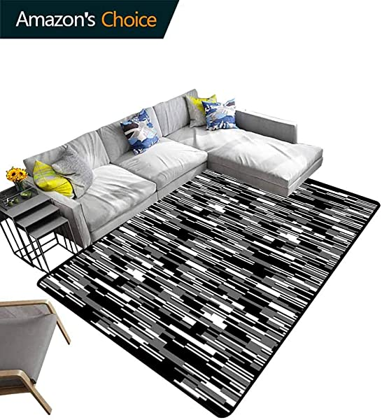 Black And White Geometric Floor Comfort Mats Barcode Pattern Abstraction Vertical Stripes In Grayscale Colors Easy Maintenance Area Rug Living Room Bedroom Carpet 6 X 9