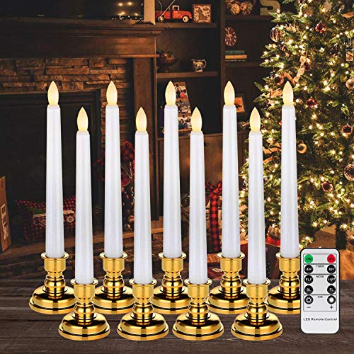Homemory Pack of 9 Flameless Taper Window Candles with Remote and Timer, 7.9 Inches Battery Operated LED Candles with 4 Light Modes, Warm White Flickering Slowly/Fast Light (Batteries not Included)