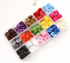 GANSSIA 5/8 Inch Buttons 15mm Sewing Flatback Button 15 Colors Assorted Buttons for Craft Pack of 300 Pcs with Box