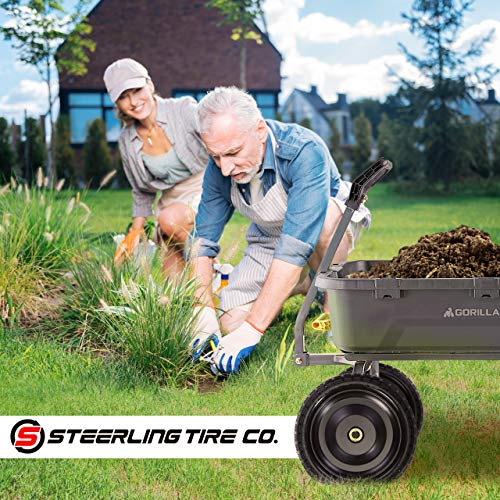"""Steerling Tire Co. 13"""" Flat-Free Wheelbarrow Tires - Compatible with Gorilla Carts, Trolleys, Generators and More. Easy Installation, Includes 2 Replacement Wheels, Cotter Pins and Washers"""