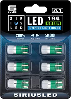 SIRIUSLED Compact size Green Color 168 194 2825 Single Chip LED Interior Bulb for Car and Truck Map Dome Door Courtesy Glo...