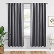 RYB HOME Blackout Grey Curtains - Thermal Insulated Window Treatments Long Panels, Back Tab & Rod Pockets Top, Privacy Curtains for Bedroom Dining, 42 Wide x 72 Long, Gray, Set of 2