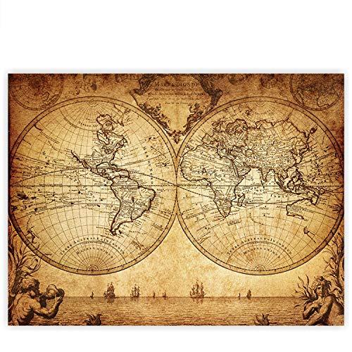 Leinwandbild 100x75 cm - Top - Wandbild XXL Kunstdruck Leinwand Bild Wanddeko Canvas - VINTAGE WORLD MAP - Weltkarte Atlas Vintage Atlas alte Karte alter Altas - no. 076, Qualität Leinwand:Premium Plus
