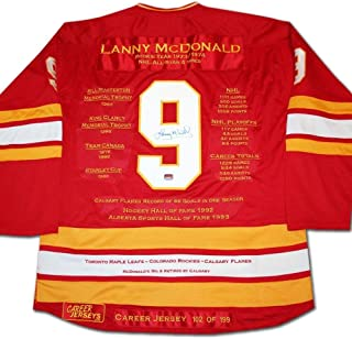 Lanny Mcdonald Calgary Flames Autographed Signed Memorabilia Career Stats Hockey Jersey Le/199