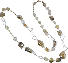 Handmade Jewelry Manufacturer Yellow Mix Shape Golden Rutile 925 Sterling Silver Chain Necklace Jaipur Rajasthan India