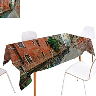 Warm Family Venice Dinning Tabletop Decoration Empty Idyllic Streets of Venezia Travel Destination Romantic Vacation Old Buildings Table Cover for Kitchen 60