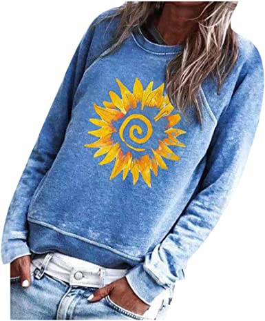 F/_Gotal Graphic Tees for Women Long Sleeve Funny Sunflower Print Fall Casual Sweatshirt T Shirt Top for Teen Girl Junior