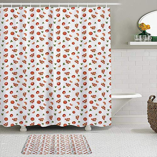TARTINY 2-teiliges Duschvorhang-Set mit rutschfesten Teppichen,Duschvorhang setzt Badematte Gemüse-Kirschtomaten Bündel ges&e Früchte mit Petersilienernte Landwirtschaft mit 12 Haken
