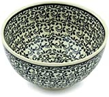 Polish Pottery Bowl 5-inch Black Lace Vines