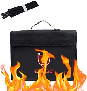 Rubik Large Capacity Fireproof Briefcase Bag with Covered Zipper and Shoulder Strap for Fire Safety Security of A4 Documen...