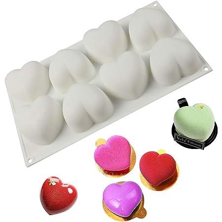 Moule en Silicone en Forme de Coeur à 8 Cavités Moules à Dessert Silicone en Forme Coeur D'amour 3D Durable, pour Noël, Décoration de Gâteaux, Pâtisserie, Confection Bonbons, Chocolat, Cupcake—Blanc