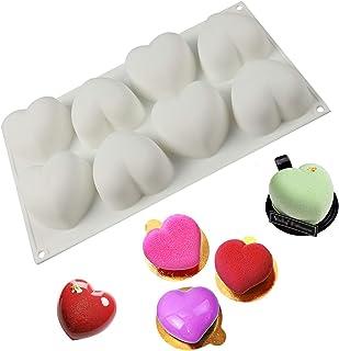 Moule en Silicone en Forme de Coeur à 8 Cavités Moules à Dessert Silicone en Forme Coeur D'amour 3D Durable, pour Noël, Dé...