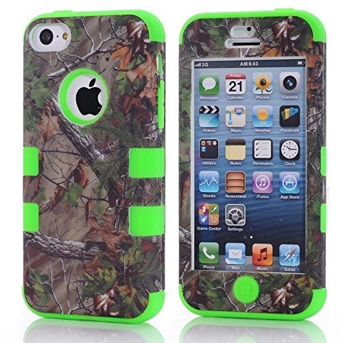 for iPhone 5c Case,Kecko(TM) Defender Body Armor Realtree Camo High Impact Tough Silicon Rubber Military Rugged Protective Case with Camouflage Wood Design for iPhone 5C Only (Bird Green)