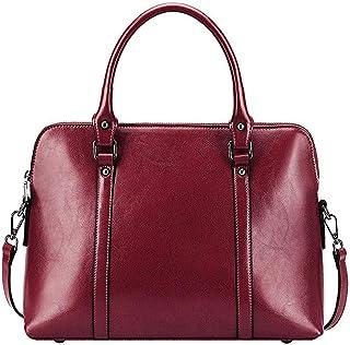 Sling Bag Women's Genuine Leather Handbag Slim 14-inch Laptop Briefcase Purse Shoulder Bags Tote Bag KAVU Bag (Color : Red)