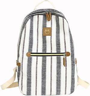 Leng QL Personality Backpacks Fashionable High School Student Stripes Schoolbag Casual Backpack