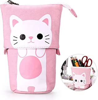 Telescopic Pencil Pouch Standing Pen Holder Cute Pencil Bags Stand Up Pen Case Cartoon Pencil/Pens Storage Box Canvas+PU Stationery Organizer Makeup Bag with Zipper Closure (Pink)