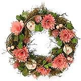 com-four® Corona de Pascua con Flores de Madera, Centro de Mesa Decorativa, Corona con Gancho para...