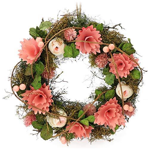 com-four® Türkranz Frühling mit Blumen aus Holz - Dekorativer Tischkranz - Kranz Deko mit Aufhänger - Durchmesser ca. 30 cm (pink. rosa)