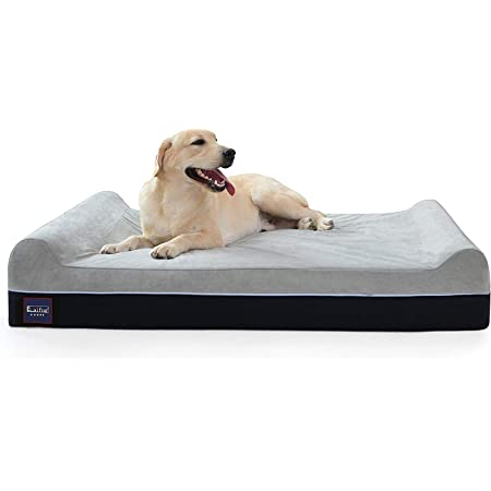 Laifug Orthopedic Memory Foam Extra Large Dog Bed with Pillow and Durable Water Proof Liner & Removable Washable Cover & Smart Design