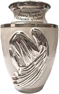 Custom Praying Angel Mother of Pearl Brass Funeral Cremation Urn, Adult Memorial Ash Urn with Personalization