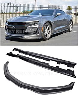 Extreme Online Store for 2019-Present Chevrolet Camaro LT LS RS SS Models | EOS T6 Style Front Bumper Lip Splitter with Side Skirts Rocker Panel Pair (ABS Plastic - Primer Black)