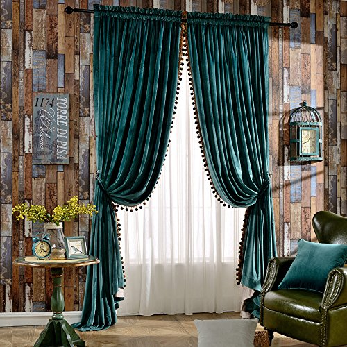 Melodieux Luxury Pom Poms Velvet Curtains for Bedroom Living Room, Thermal Insulated Rod Pocket Window Drapes, 52x84 Inch, Antique Green (1 Pair)