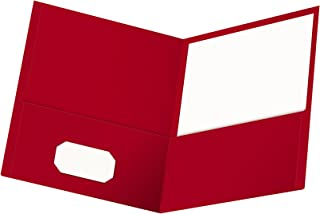 Oxford Twin-Pocket Folders, Textured Paper, Letter Size, Red, Holds 100 Sheets, Box of 25 (57511EE)