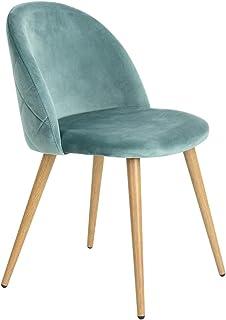 Juego de 2 sillas escandinavas de terciopelo verde agua, patas de madera
