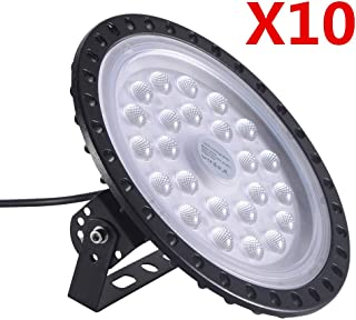 50/100/200/300/500W UFO LED High Bay Lighting Factory Warehouse Industrial Lighting IP65 Warehouse LED Lights- High Bay LED Lights- Commercial Bay Lighting for Garage Factory Workshop Gym (100W-10pcs)