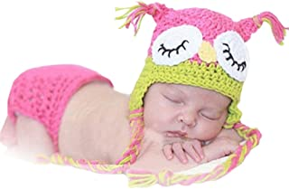 Pink Owl Baby Girl Infant Knit Crochet Clothes Costume Photo Prop Outfit