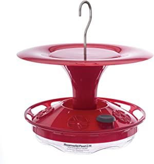 Roamwild Hanging Hummingbird Feeder with Double Moat Guard Technology | 5 Feeding Stations with Quick Easy Filling Port | 12 fl oz Nectar Capacity