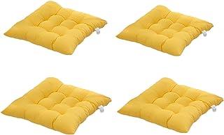 4 cómodos cojines para silla,Worsendy cojines de silla exterior,cojines de terraza,cocina de jardín Cojines de silla de comedor 40x40 cm Crema Cena silla Pad (Amarillo)
