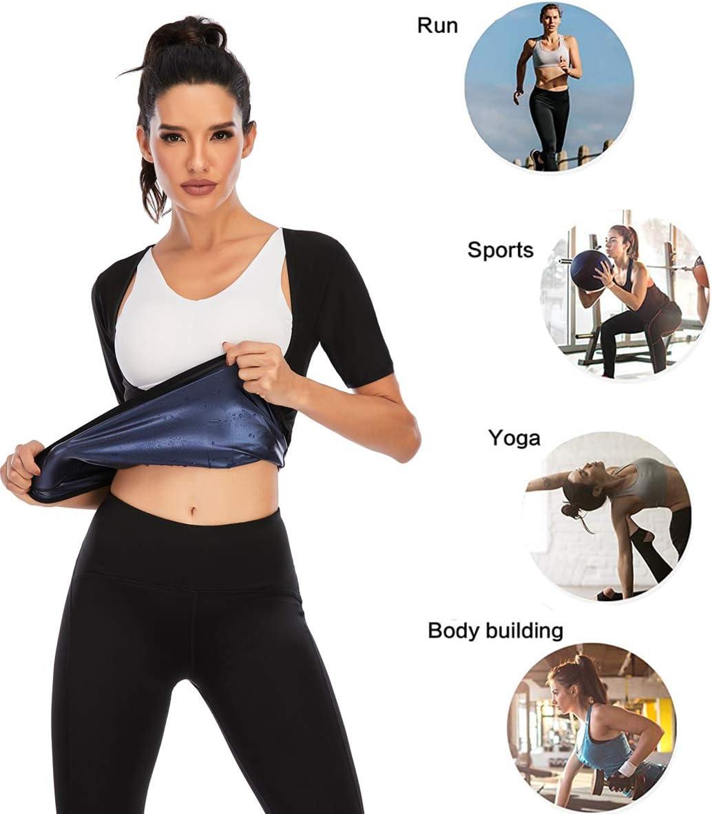 Women Short Sleeve Sauna Suit Hot Sweat Slimming Body Shaper Polymer Workout Top