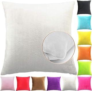 comprar comparacion Easondea Fundas de Cojín de Color sólido Square Decorativos para Sofá Cama Coche Fundas Cojines Funda de Almohada Crema 65...
