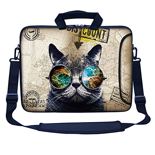 Meffort Inc 15 15.6 inch Neoprene Laptop Bag Sleeve with Extra Side Pocket, Soft Carrying Handle & Removable Shoulder Strap for 14' to 15.6' Size Notebook Computer - Cool Cat