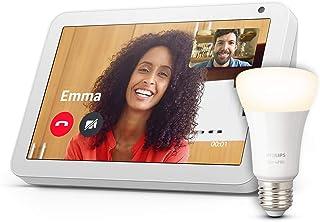 Echo Show 8, Tessuto grigio chiaro + Philips Hue White Lampadina Connessa (E27), compatibile con Alexa