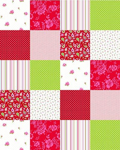 Patchwork Tapete Patchwork Rot und Grün - 155702 - von ESTAhome.nl