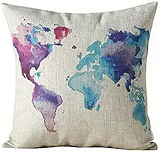 Andreannie Color World Map Purple Cotton Linen Throw Pillow Case Cushion Cover Home Office Decorative, Square 18 X 18 Inch...