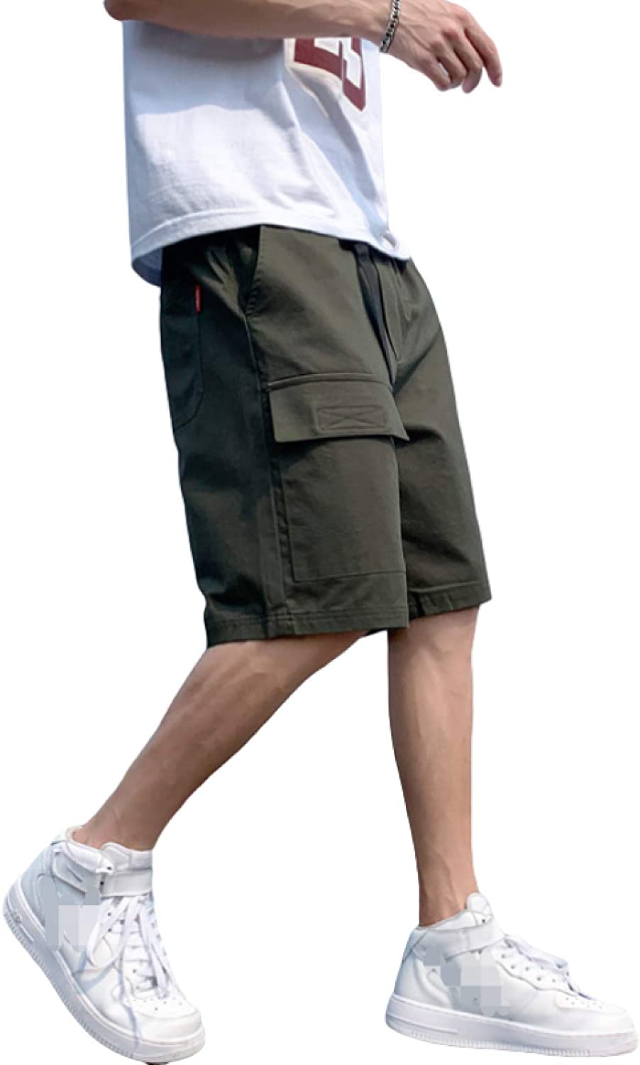 Wantess Men's Casual Shorts Summer Fashion Stitching Pockets Loose Large Size Trend