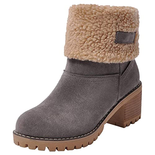 5c4c850a82b GOUPSKY Snow Boots Women Mid Heel Shoes Faux Suede Fur Lined Winter Warm  Short Block Ankle