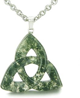 Celtic Triquetra Knot Magic Amulet Green Moss Agate Good Luck Powers Pendant 18 Inch Necklace