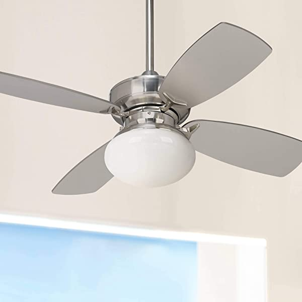 36 Outlook Modern Ceiling Fan With Light LED Dimmable Brushed Nickel Silver Blades Opal Glass For Living Room Kitchen Bedroom Family Dining Casa Vieja