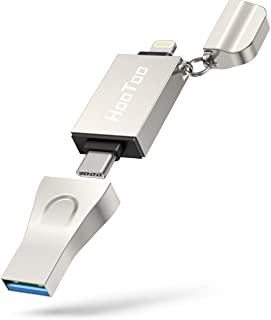 Flash Drive for iPhone, HooToo 3 in 1 USB 3.1 Flash Drive, USB C Flash Drive Memory Stick, MFi Certified Photo Stick for i...