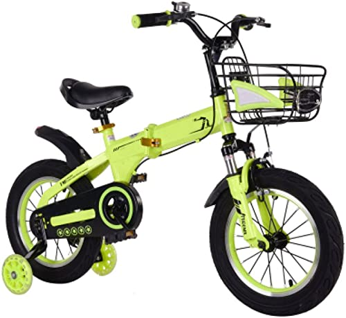 QXMEI Fahrrad Faltendes Fahrrad Der Kinder 2-4-6-7-8-9-10 Jahre Altes Jungenfahrrad,Gelb-12Inches